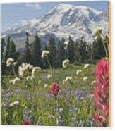 Wildflowers In Mount Rainier National Wood Print