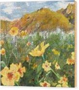 Wildflowers In The Desert Wood Print