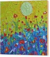 Wildflowers Meadow Sunrise Wood Print