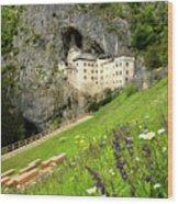Wildflowers On Hillside At Predjama Castle 1570 Renaissance Fort Wood Print
