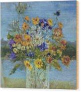Wildflowers On The Lake Wood Print