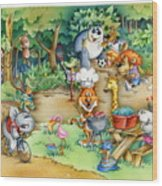 Wildlife Party Wood Print