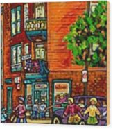 Wilensky Diner Little League Expo Kids Baseball Painting Montreal Scene Canadian Art Carole Spandau  Wood Print