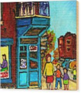 Wilensky's Counter With School Bus Montreal Street Scene Wood Print