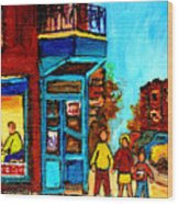 Wilensky's Lunch Counter With School Bus Montreal Street Scene Wood Print