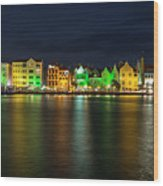 Willemstad And Queen Emma Bridge At Night Wood Print