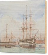William Edward Atkins H.m.s. Victory And H.m.s. Duke Of Wellington In Portsmouth Harbour With An Ind Wood Print