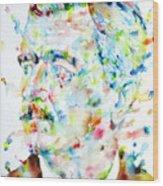 William Faulkner - Watercolor Portrait.4 Wood Print