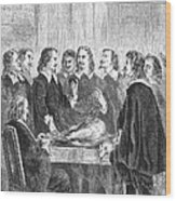 William Harvey Explaining Blood Wood Print