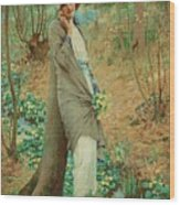 William Henry Margetson, Woman In A Spring Landscape. Wood Print
