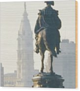 William Penn And George Washington - Philadelphia Wood Print by Bill Cannon