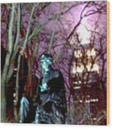 William Seward Statue And Empire State Bldg With Trees Wood Print