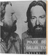 Willie Nelson Mug Shot Horizontal Black And White Wood Print