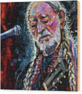 Willie Nelson Portrait Wood Print