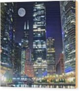 Willis Tower And Moon Wood Print