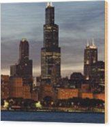 Willis Tower At Dusk Aka Sears Tower Wood Print