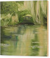 Willow At Monet Wood Print