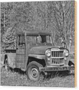 Willys Jeep Pickup Truck Monochrome Wood Print