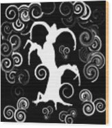 Wind Dancing - White On Black Silhouettes Wood Print