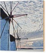Wind Mills Of Mykonos Wood Print