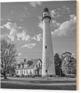 Wind Point Lighthouse And  Old Coast Guard Keepers Quarters  3 Wood Print