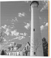 Wind Point Lighthouse And  Old Coast Guard Keepers Quarters.   Black And White Wood Print