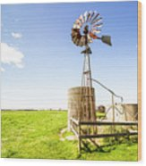 Wind Powered Farming Station Wood Print