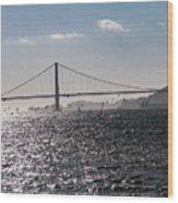 Wind Surfing Under The Bridge Wood Print