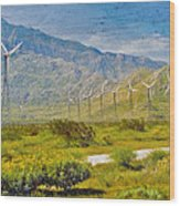 Wind Turbine Farm Palm Springs Ca Wood Print