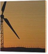 Wind Turbine On A Ridge At Sunset Wood Print