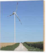 Wind Turbine On Field With Country Road Wood Print