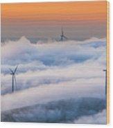 Wind Turbines At Sunrise Wood Print