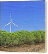 Wind Turbines Landscape Wood Print