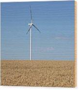 Wind Turbines On Wheat Field Summer Season Wood Print
