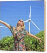 Wind Turbines Woman Wood Print