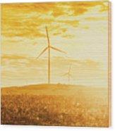 Windfarm Sunset Wood Print