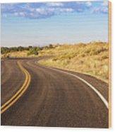 Winding Desert Road At Sunset Wood Print