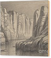 Winding River Through A Rock Formation (philae, Egypt) Wood Print