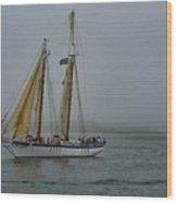Windjammer In The Mist Wood Print