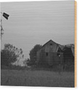 Windmill And Barn In Black And White Wood Print