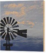Windmill And Cloud Bank At Sunset Wood Print