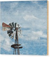 Windmill And Clouds Wood Print