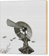 Windmill And Geese Wood Print