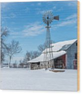 Windmill And Old Barn In Fresh Snow Wood Print