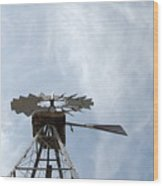 Windmill And Sky Wood Print