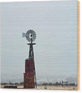 Windmill And Water Tanks Wood Print