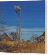 Windmill At An Old Farm In Kansas Wood Print