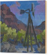 Windmill At Keys Ranch Joshua Tree Wood Print