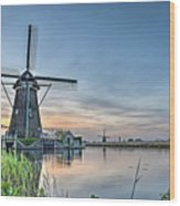 Windmill At Kinderdijk Wood Print