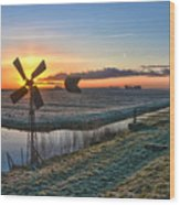 Windmill At Sunrise Wood Print